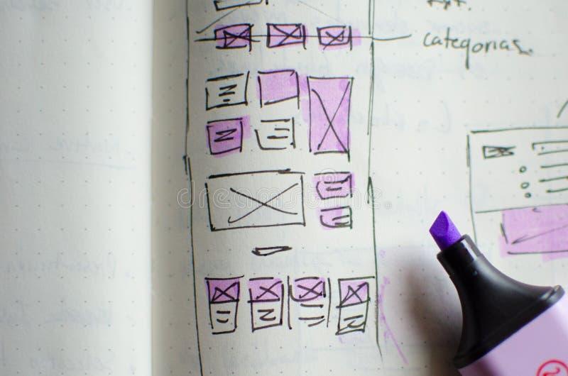 Plan rapproché de feuille d'ébauche d'UI/UX avec des secteurs accentués avec un marqueur magique photo libre de droits