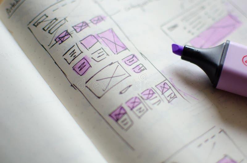 Plan rapproché de feuille d'ébauche d'UI/UX avec des secteurs accentués avec un marqueur magique photo stock