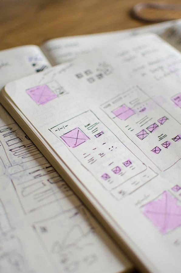 Plan rapproché de feuille d'ébauche d'UI/UX avec des secteurs accentués avec un marqueur magique photographie stock