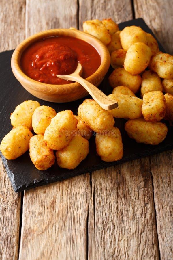 Plan rapproché de Fried Potato Tater Tots et de ketchup vertical photographie stock libre de droits
