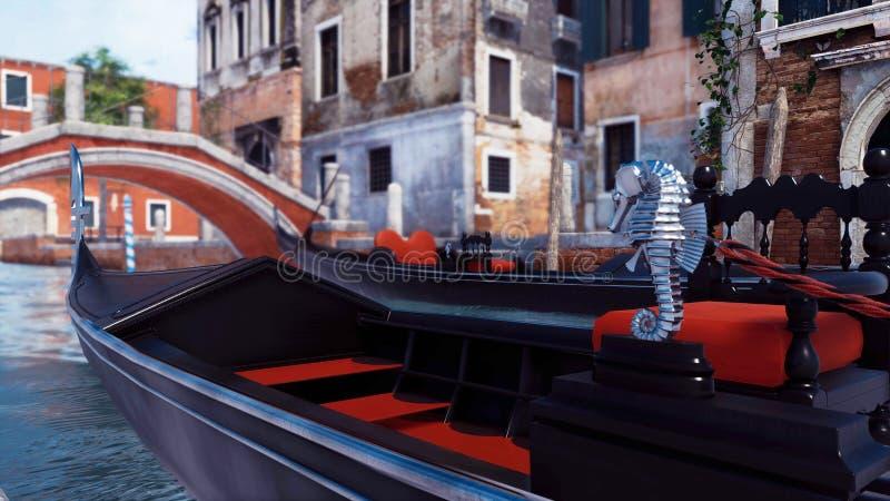 Plan rapproché de gondole vénitienne vide sur le canal de Venise illustration libre de droits