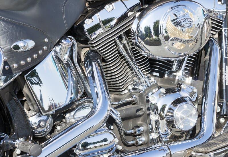 Plan rapproché de Harley Davidson Motorcycle Engine image libre de droits