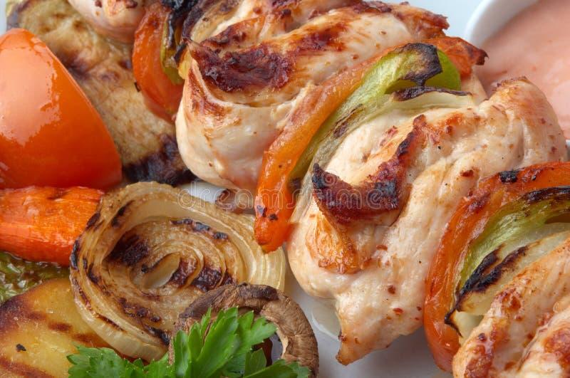 Plan rapproché de kebab de poulet photo libre de droits