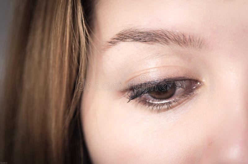 Plan rapproché de l'oeil brun de jeune fille photographie stock