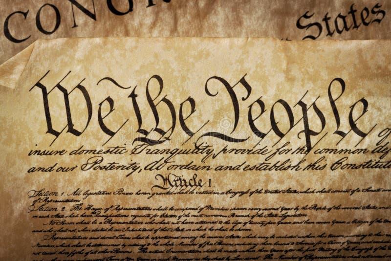 Plan rapproché de la constitution des États-Unis photo stock