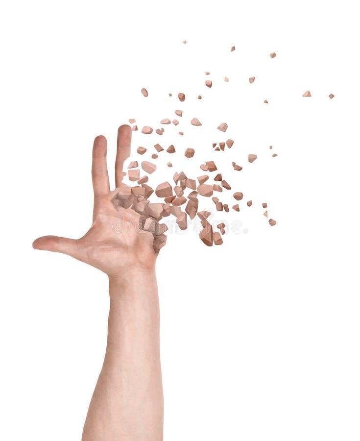Plan rapproché de la main de l'homme avec les doigts et la paume commençant à se dissoudre dans des morceaux d'isolement sur le f photos stock
