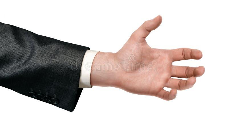 Plan rapproché de la main de l'homme dans le costume avec la paume ouverte d'isolement sur le fond blanc photographie stock