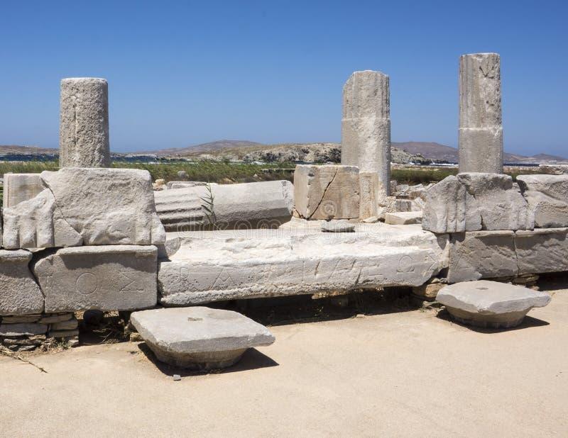Plan rapproché de la manière sacrée dans Delos, Grèce photo libre de droits