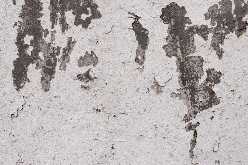 Plan rapproché de la texture blanche de mur en béton de plâtre criqué Texture de plâtre de surface approximative Épluchage de la  photos stock