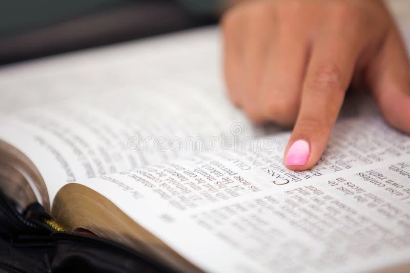 Plan rapproché de lire la Sainte Bible image stock