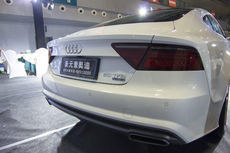 Plan rapproché de lumière de queue d'automobile d'Audi A7 d'†de salon de l'Auto» photos stock