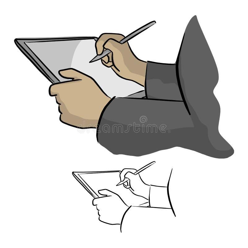 Plan rapproché de main fonctionnant avec le stylet sur le vecteur numérique de PC de comprimé illustration de vecteur