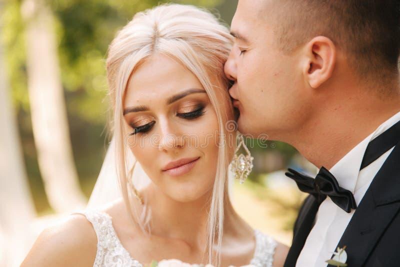 Plan rapproché de marié embrassant la jeune mariée beaux maquillage et coiffure Portrait de beaux couples image libre de droits