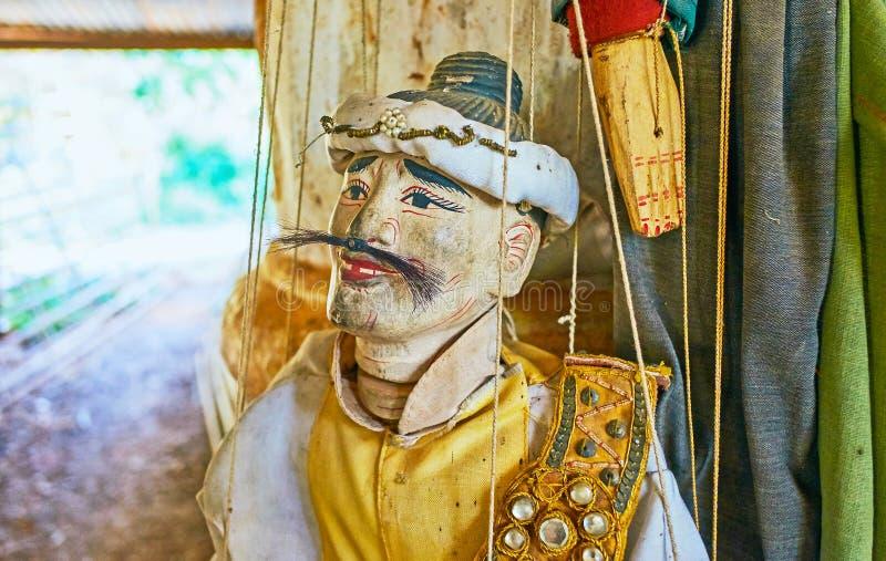 Plan rapproché de marionnette traditionnelle, marché de Thein d'auberge, lac Inle, photos libres de droits