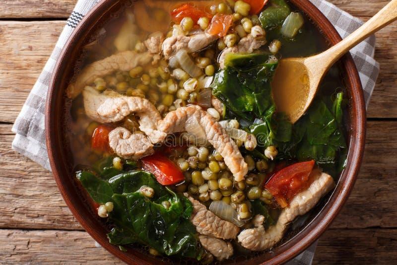 Plan rapproché de Mungo Guisado Mung Bean Soup de Philippin dans une cuvette Hori image stock