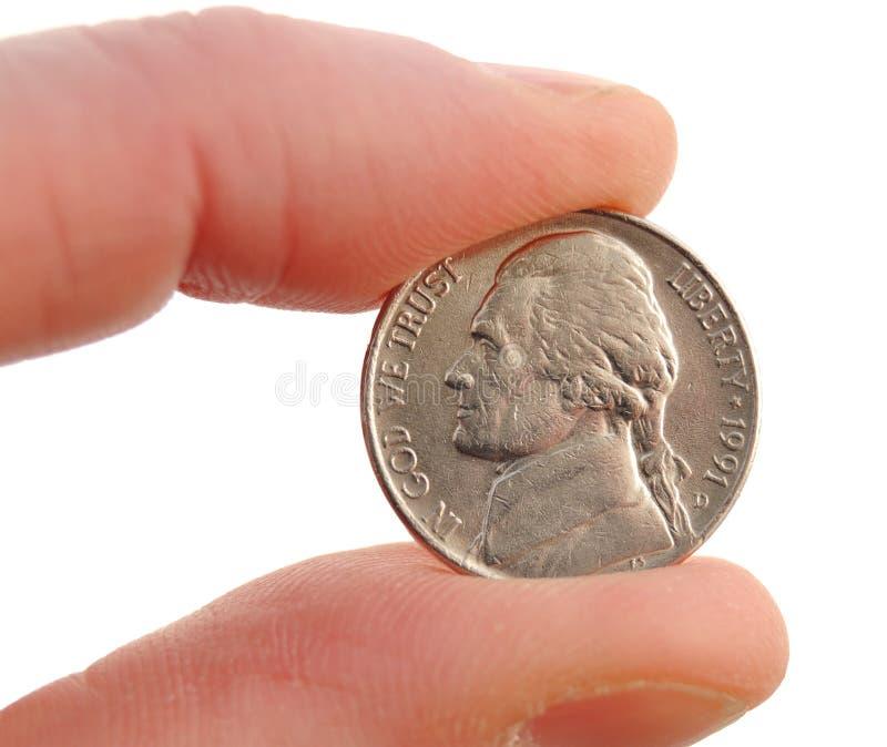 Plan rapproché de nickel de Jefferson image libre de droits