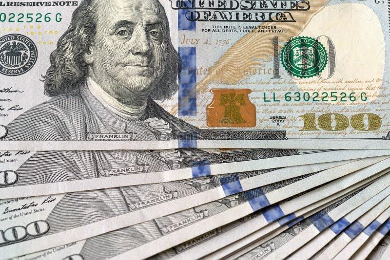 Plan rapproché de note des Etats-Unis USD 100 photographie stock libre de droits