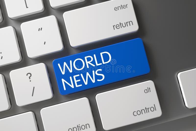 Plan rapproché de nouvelles du monde de clavier 3d photographie stock libre de droits