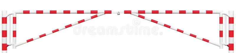 Plan rapproché de panorama de barrière du trafic de double de galerie, barre de porte de chaussée en rouge blanc lumineux, point  images libres de droits