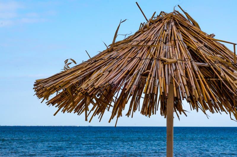 Plan rapproché de parapluie de plage de paille un temps clair images libres de droits