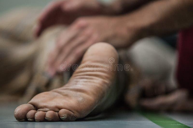 Plan rapproché de pied de danseur photographie stock