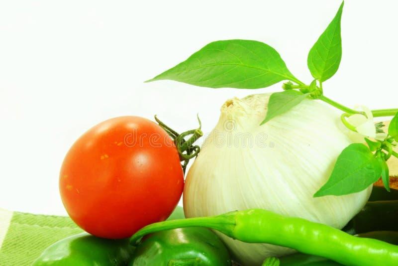 Plan rapproché de piment de tomate d'ail images libres de droits