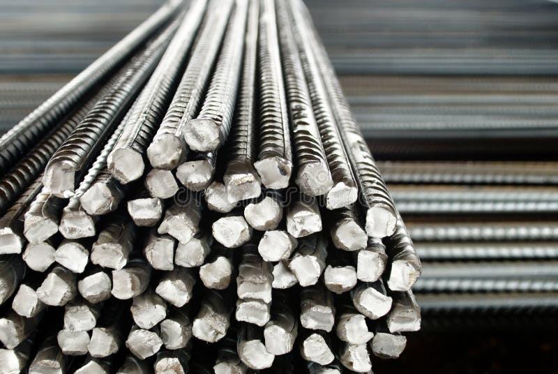 Plan rapproché de Rods ou de barres en acier, pour renforcer le béton image libre de droits