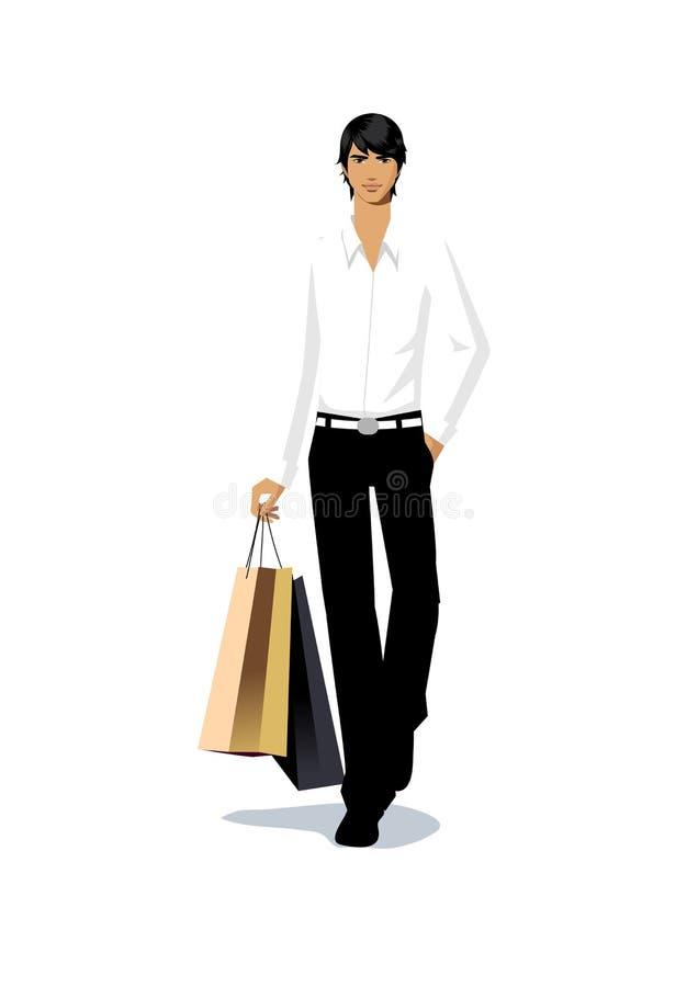 Plan rapproché de sac à provisions de fixation de l'homme illustration stock