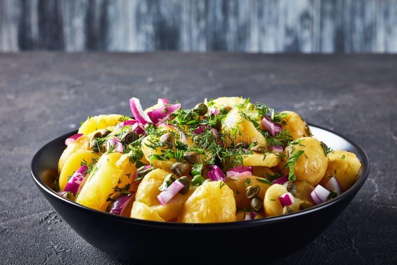 Plan rapproché de salade allemande savoureuse de pomme de terre de primeurs images stock