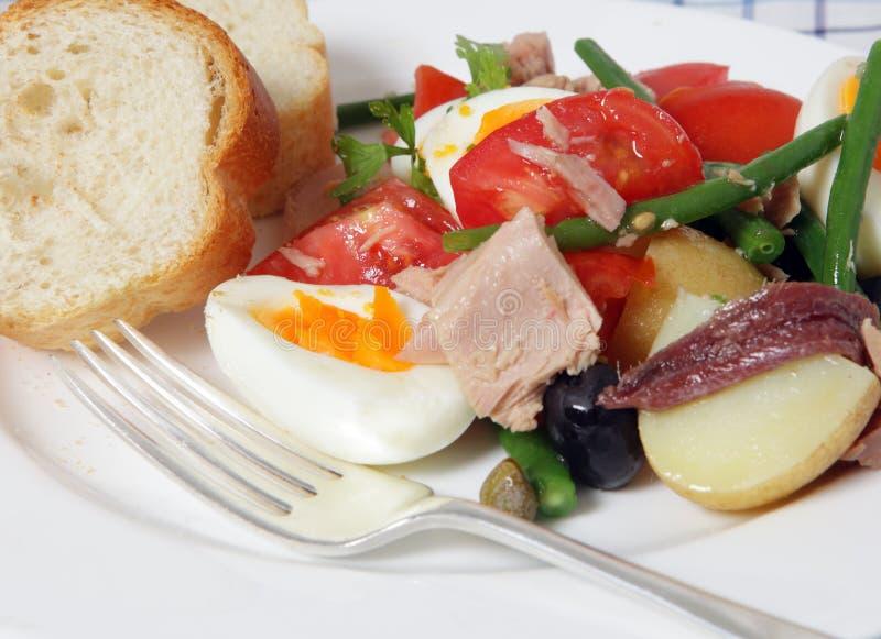 Plan rapproché de salade de Nicoise image libre de droits