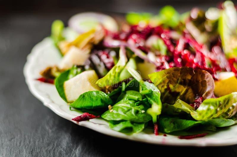 Plan rapproché de salade saine dans le plat images libres de droits
