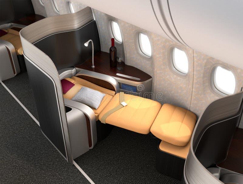 Plan rapproché de siège luxueux de classe d'affaires avec la séparation argentée métallique illustration stock