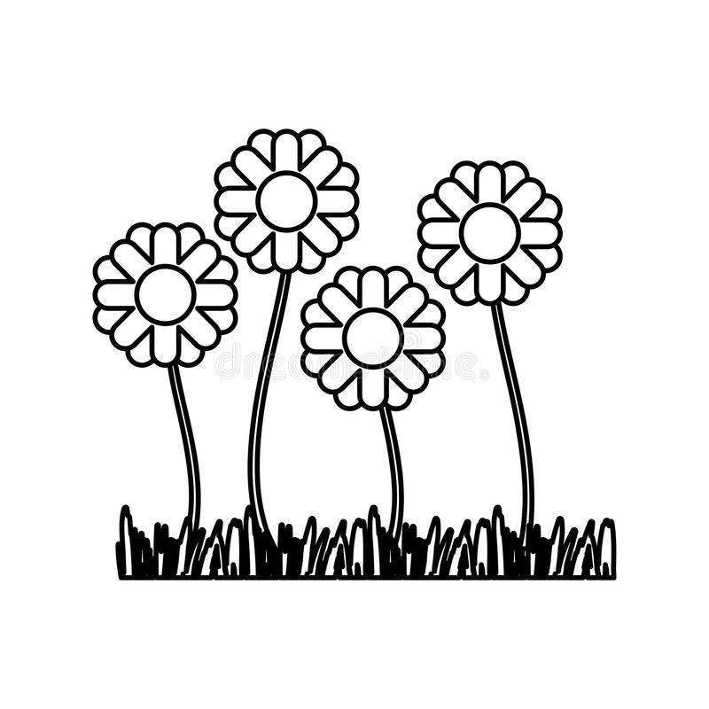 Plan rapproché de silhouette de croquis de semer des tournesols abstraits illustration libre de droits
