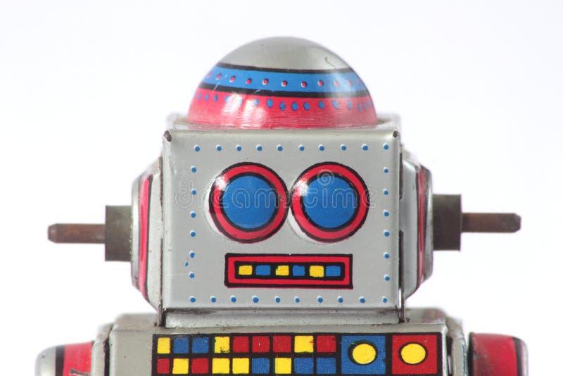 Plan rapproché de tête de robot de bidon de vintage images libres de droits