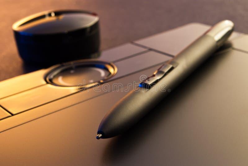 Plan rapproché de tablette graphique photo stock