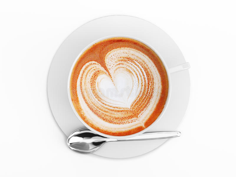 Plan rapproché de tasse de cappuccino, avec un coeur décoré sur la mousse. photos stock
