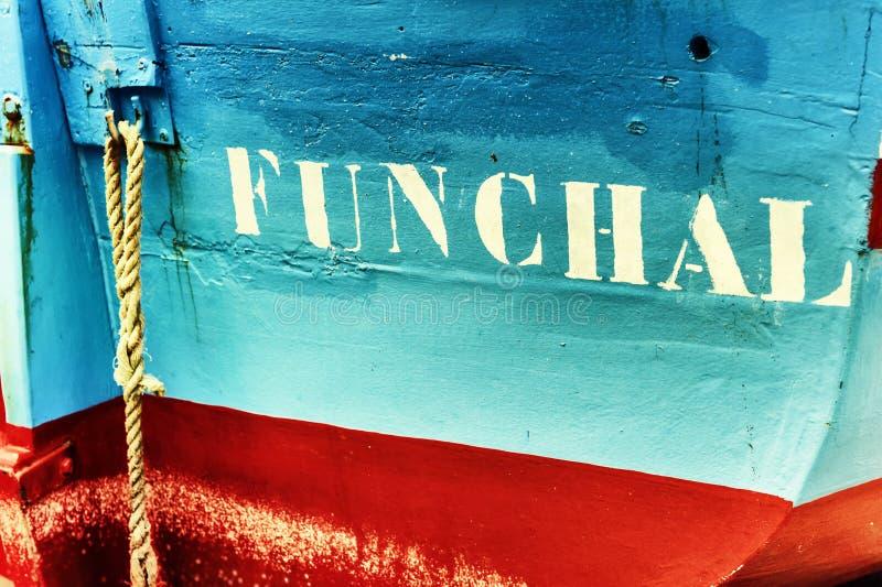 Plan rapproché de vieux bateau de pêche à Funchal, Madère photo libre de droits