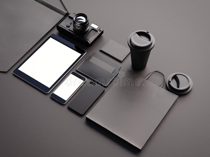 Plan rapproché des éléments génériques de bureau de conception sur le fond noir 3d rendent illustration libre de droits