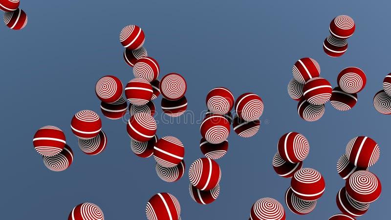 Plan rapproché des boules colorées brillantes en métal réfléchissant sur le verre de miroir illustration stock