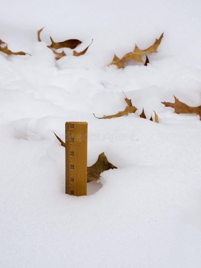Plan rapproché des chutes de neige de mesure d'hiver avec un critère photographie stock