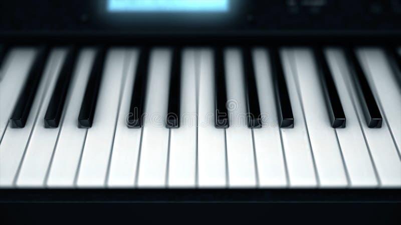 Plan rapproché des clés électroniques de piano Alimentation futée sur des clés abstraites de piano électronique rougeoyant Le kla image libre de droits
