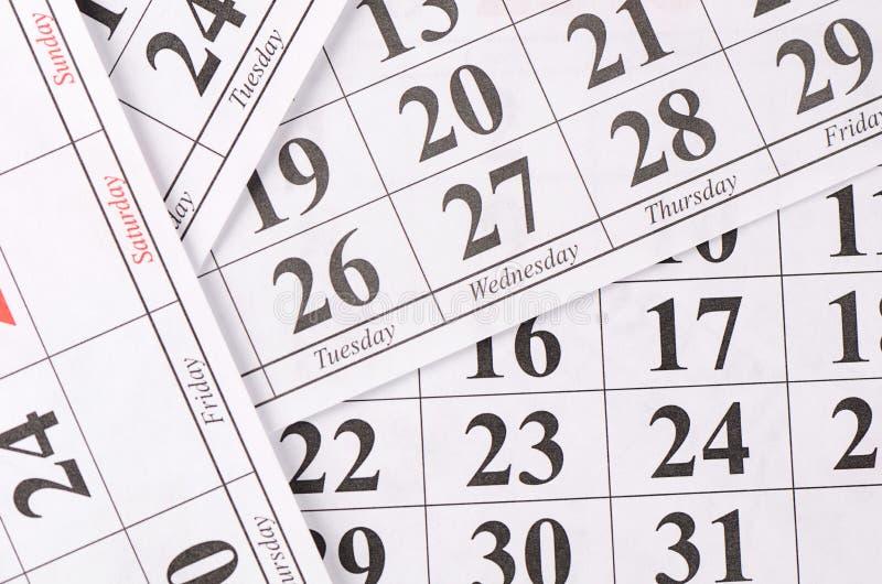 Plan rapproché des dates à la page de calendrier image libre de droits