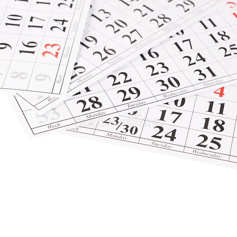Plan rapproché des dates à la page de calendrier photo libre de droits