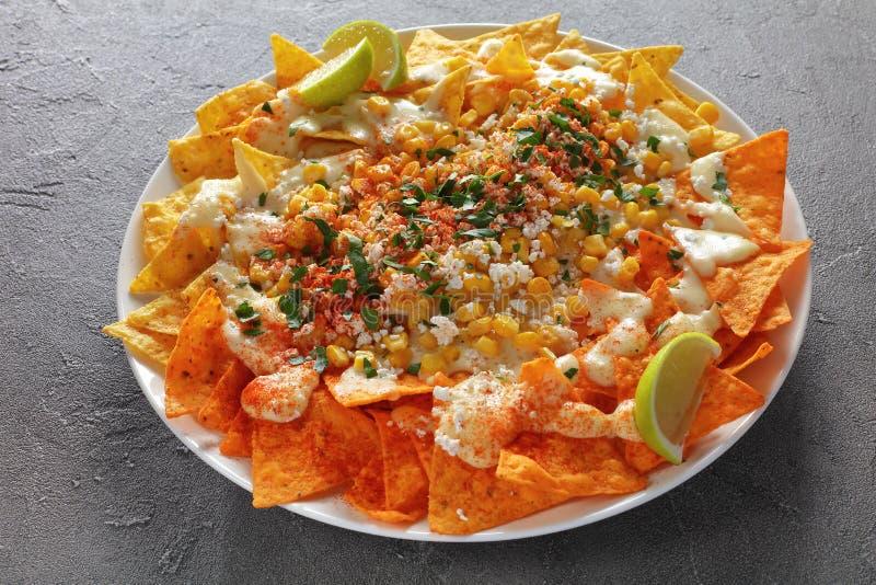 Plan rapproché des nachos chargés du plat photo libre de droits