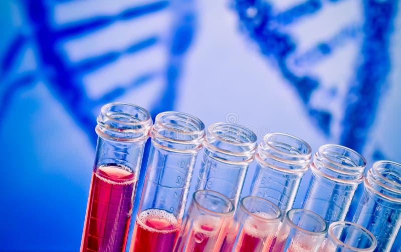 Plan rapproché des tubes à essai avec le liquide rouge sur le fond abstrait d'ADN images libres de droits
