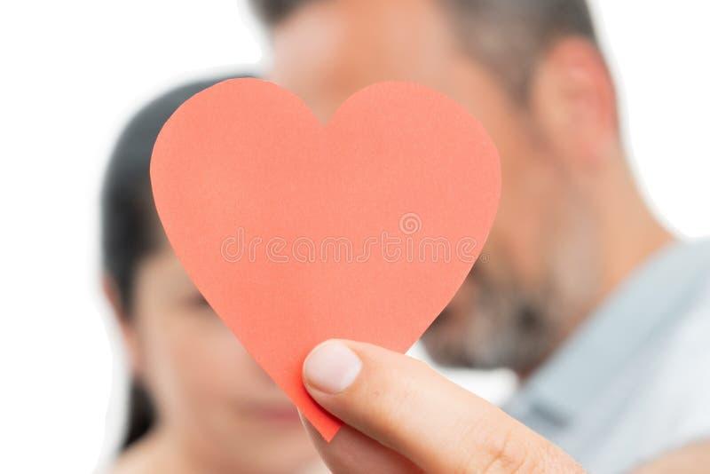 Plan rapproché du coeur de papier images libres de droits