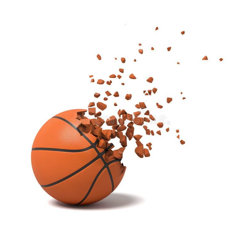 plan rapproché du rendu 3d de basket-ball commençant à se dissoudre dans des morceaux sur le fond blanc illustration libre de droits