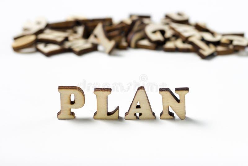 Plan rapproché en bois de lettres écrit par plan d'inscription, le concept de la planification image stock