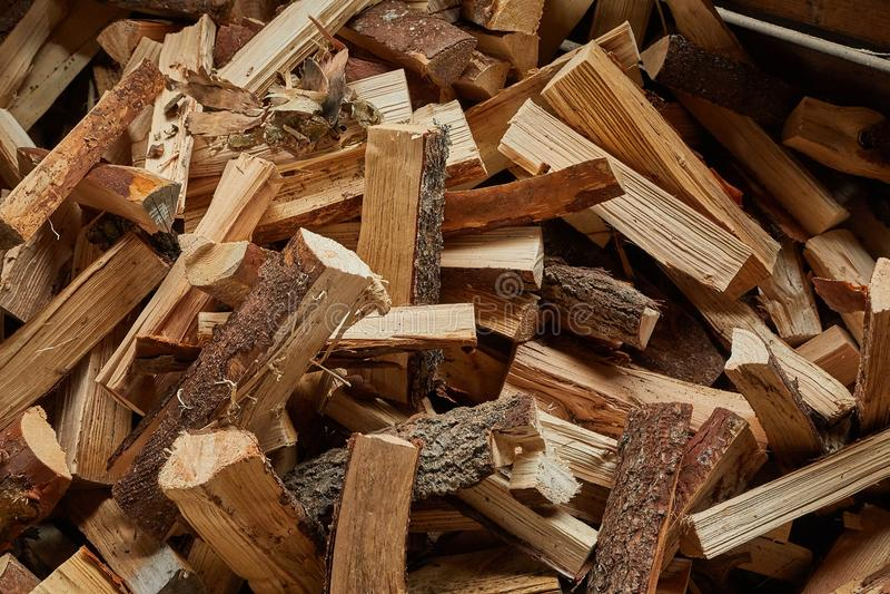 Plan rapproché en bois de pile images stock