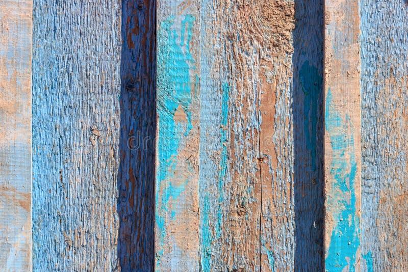 Plan rapproché en bois de planches superficiel par les agents par vintage peint par bleu W abstrait images libres de droits